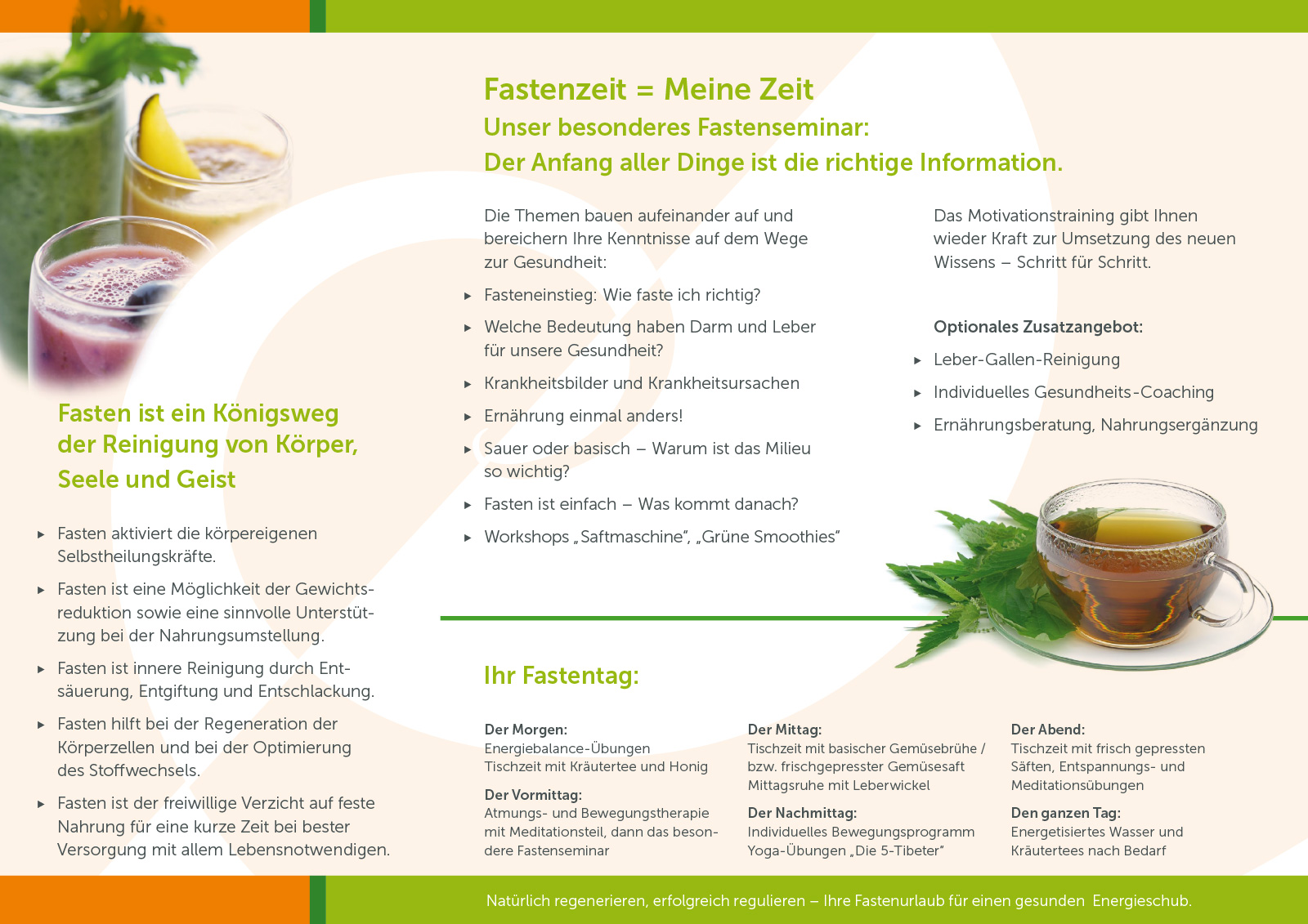 Fastenflyer. Haus der Balance: Susanne Mattke, Heilpraktikerin und Fastenkursleiterin. Gesundheitsbegleitung und Fastenkurse im Hegau. Aktuelle Termine – Jetzt anmelden!